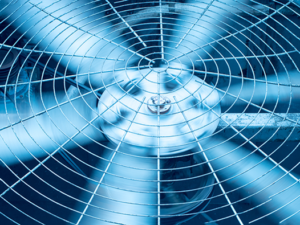 Close up of spinning fan blades to represent outside air exchange.